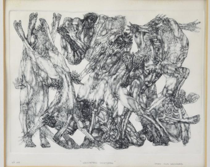 "1960s Etching Artist's Proof ""Geometric Gestures"" John Deckard Pennsylvania"