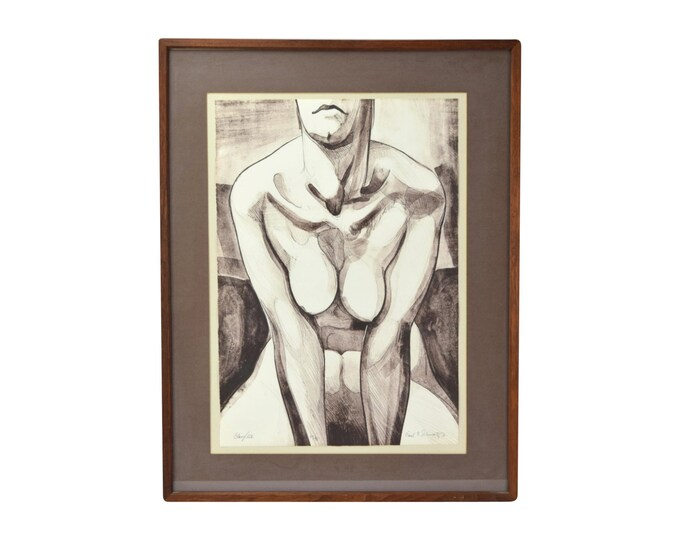 1970's Limited Edition Lithograph of Nude by Carl Schwartz Chicago Artist