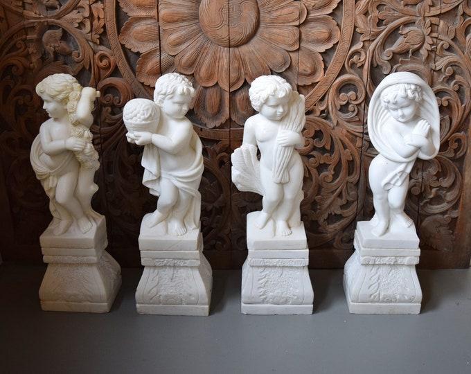Renaissance Revival Style Carved Alabaster Marble Statues Four Seasons Cherubs