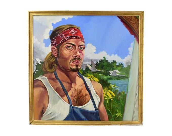 Oil Painting Portrait of Man Wearing Tank Top and Bandana Bondgren Chicago Artist
