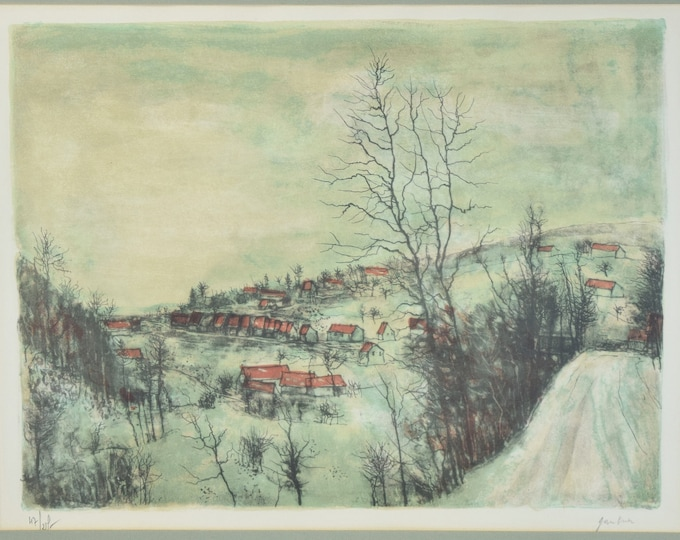 Vintage Mid-Century Abstract Landscape Bernard Gantner Lithograph Signed