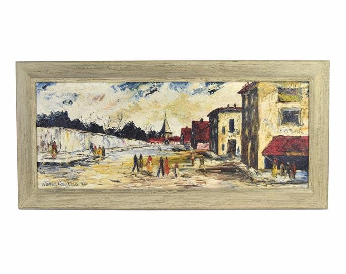 Vintage Mid-Century Heavy Impasto European Street Scene Painting Homer Costello