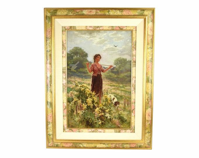 1908 American Genre Painting Country Girl Walking w Dog Edw Percy Moran