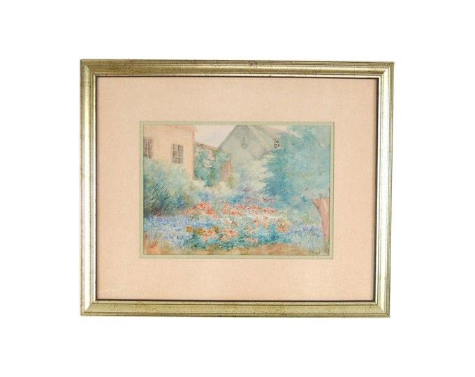 Vintage Depression Era Watercolor Painting Cottage w English Garden signed Hunt