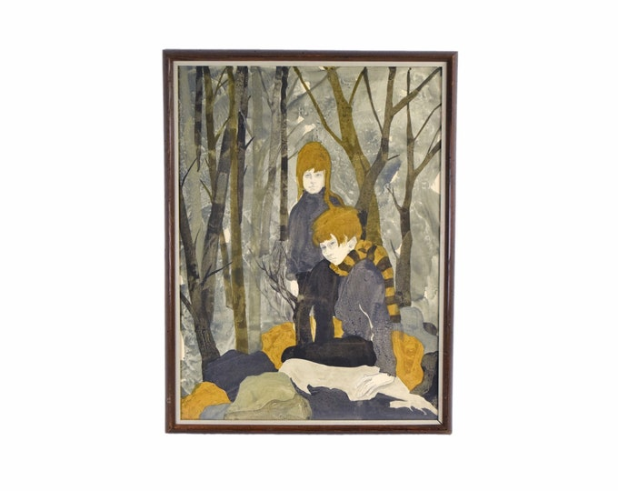 1968 Shelly Canton Watercolor Two Girls in Autumn Forest Chicago Artist