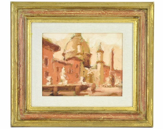 Vintage Sepia Tone Impressionist Painting Domed Cathedral Statues on Columns
