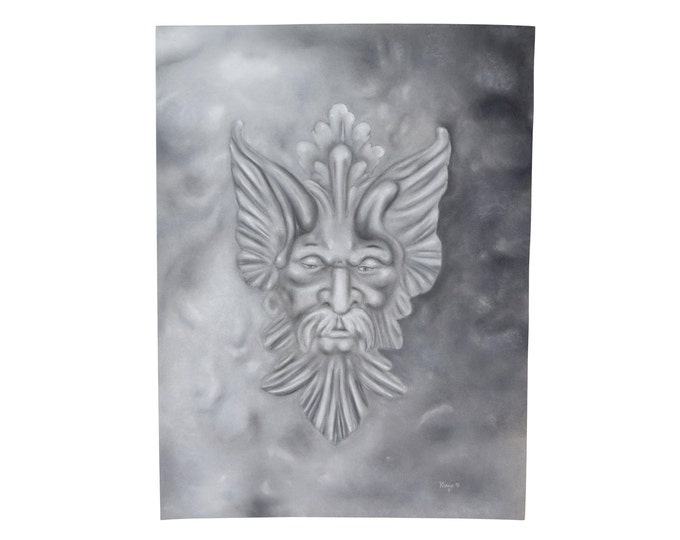 Original Pastel Drawing Mythical Fantasy Creature Head