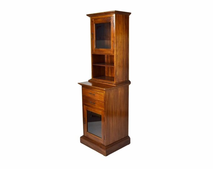 Vintage Style General Store Apothecary Cabinet with Beveled Glass Door