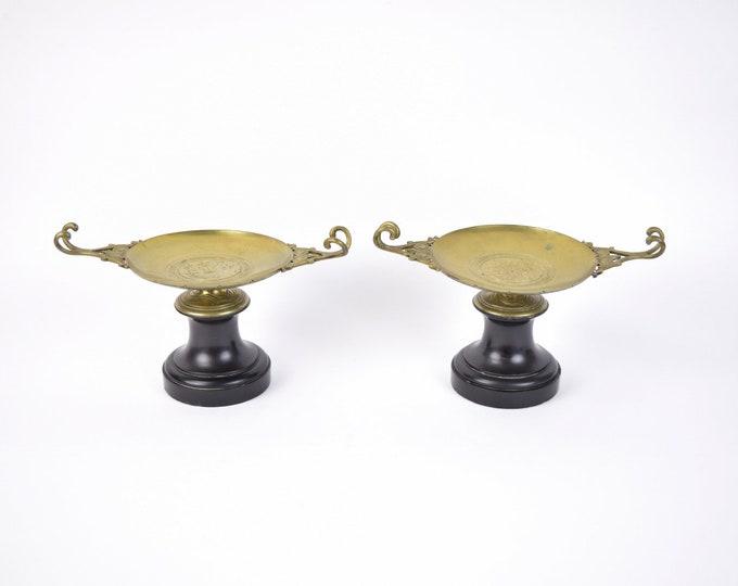 Antique Pair Neoclassical Marble Bronze Tazzas