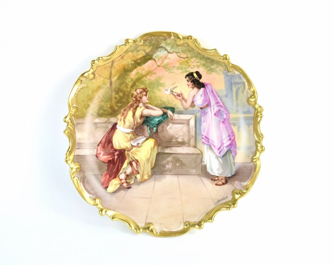 Antique Hand Painted Limoges Charger Two Roman Woman Releasing Dove sgnd Dubois