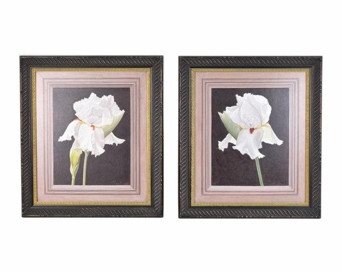 Pair Vintage Photorealist Oil Paintings White Irises w trompe l'oeil frame mat