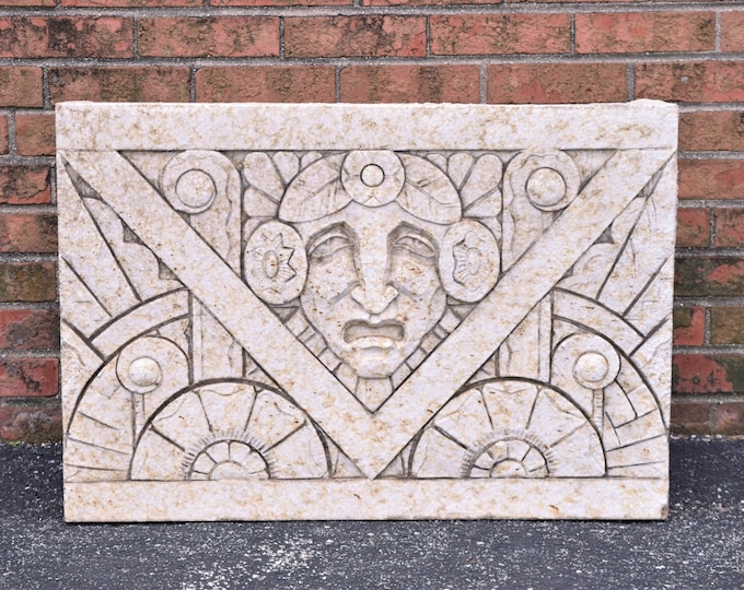 1930's Art Deco Nortown Theater Chicago Mask Terra Cotta Exterior Frieze Panel
