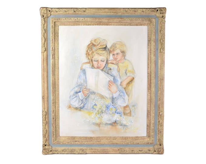 Vintage Oil Painting Portrait Gibson Girl Mother and Son Reading Paper Signed