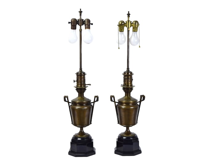 Pair Bronze Neoclassical Egyptian Revival Style Two-Handled Urn Table Lamps w Black Marble Bases