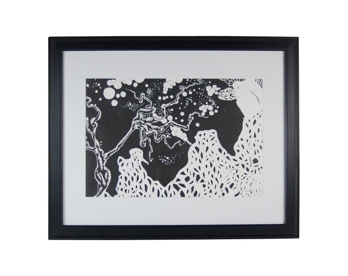 """Abstract Surrealist Black and White Block Print """"Mother"""" signed and numbered"""