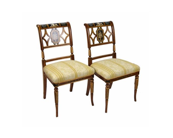 Pair Italian Fine Galimberti Lino Chair Hand-Painted Neoclassical Scenes #1