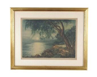 Vintage 1924 Lakeside Trees Moonrising Over Lake Pub Aquatint Print by Stehli Zurich