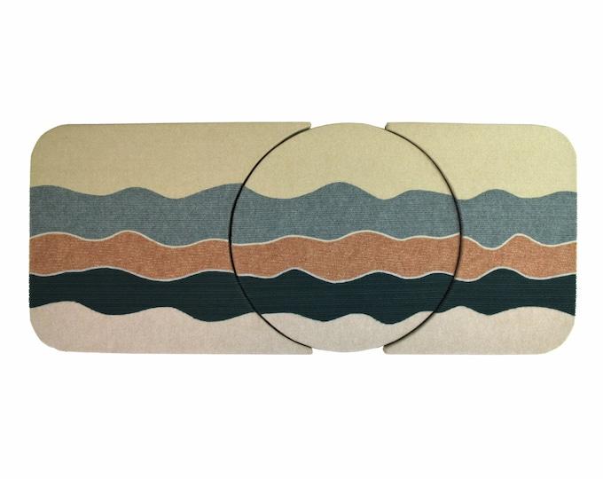 Vintage Large 1980's Abstract Geometric Fiber Art Triptych by Jan Bruggeman