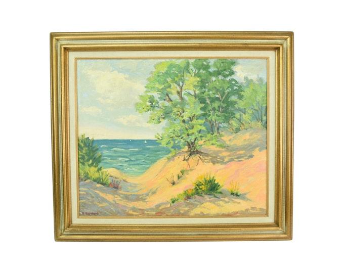 "Vintage Oil Painting ""Indiana Dunes"" circa 1960 Ruth Browne Burchard"