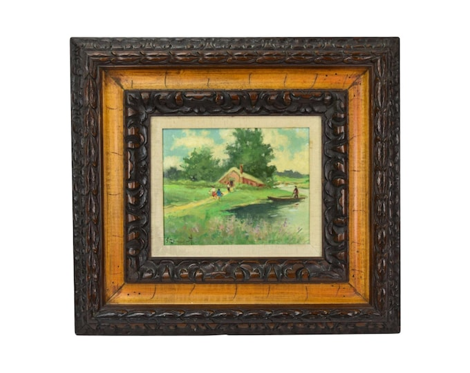 Vintage Pastoral Landscape Oil Painting with Family at Riverside Cottage
