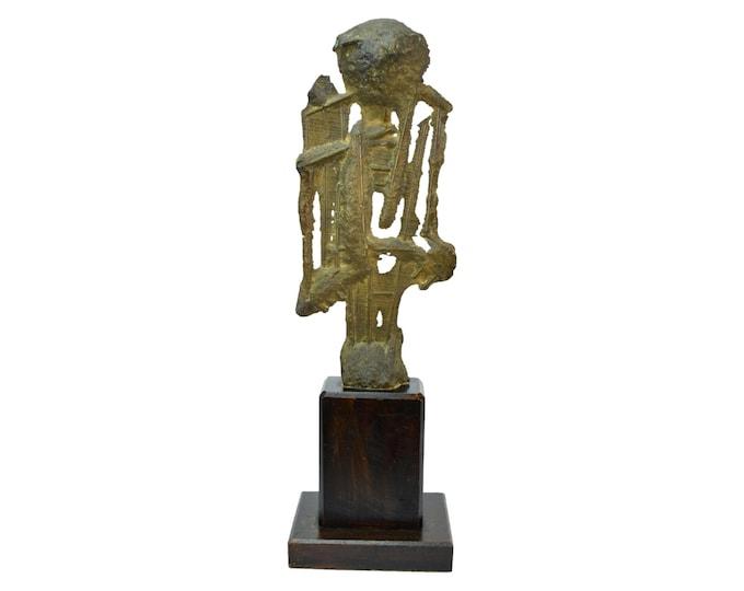 Mid-Century Modern Brutalist Abstract Bronze Sculpture Endre Vitez Chicago Artist