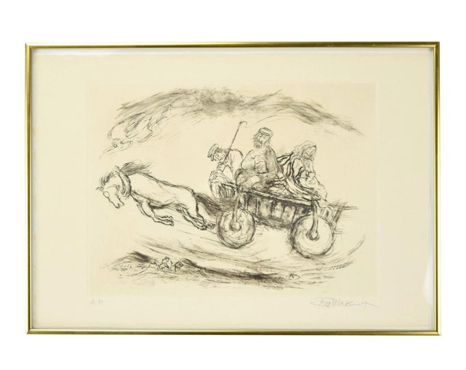 """Rabbis in Horse Drawn Cart """"Reaches of Heaven No.14"""" Etching by Ira Moskowitz"""
