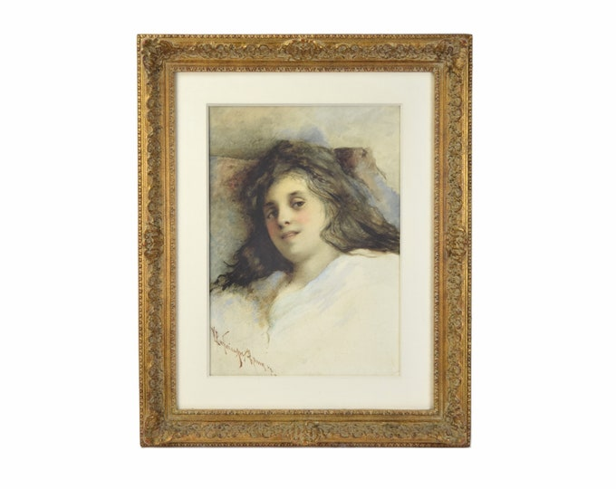 1872 Pre-Raphaelite Style Watercolor Portrait Young Woman in Repose signed