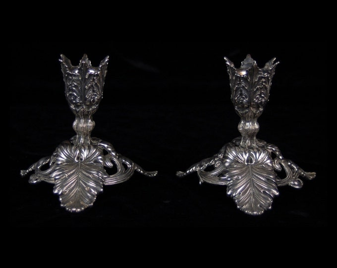 Pair Antique German .800 Silver Acanthus Leaves Candlesticks