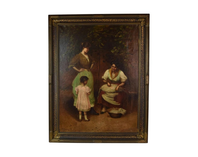 """Italian Genre Painting """"Preparations for the Holiday"""" 3 Generations of Women Signed"""