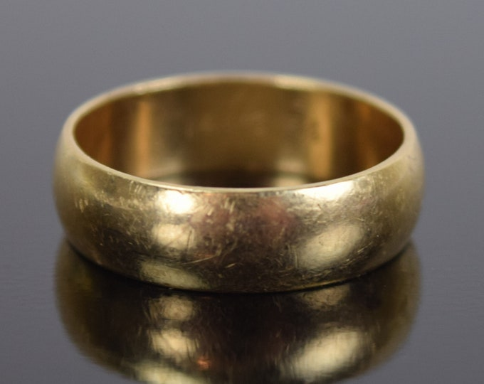 Estate Vintage Classic 14k Solid Yellow Gold Convex Wedding Band
