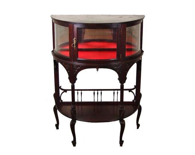 Vintage Mahogany Art Nouveau Demilune Cabinet Vitrine Curio Display Case