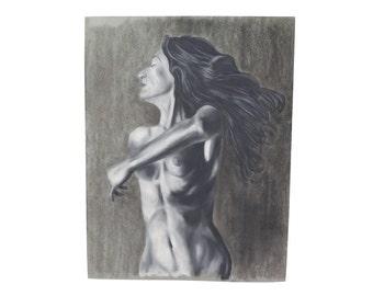 Original Pastel Drawing Nude Woman With Long Black Hair Signed Kopala Chicago Artist