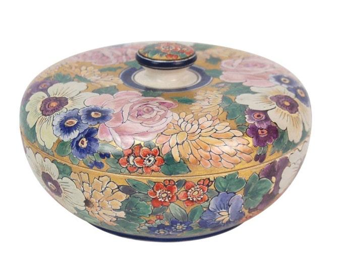 American Satsuma Pottery Jar Signed Frances Barothy Chicago Atlan Artist