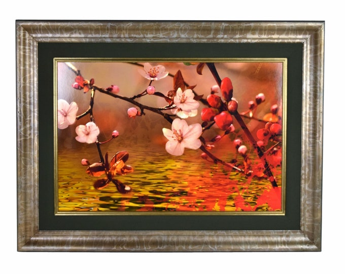"Large Yankel Ginzburg ""October Surprise"" Photorealist Flower Blossoms Painting"