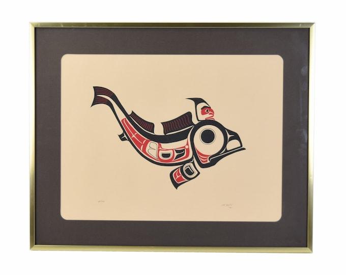 Vintage 1970's Pacific Northwest Native American Serigraph Stylized Fish sgnd Joe David