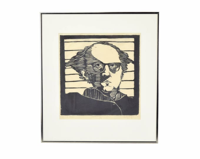 "Vintage 1970's Woodblock Print Portrait of Man in Glasses ""Professor L. Z. Breen"""