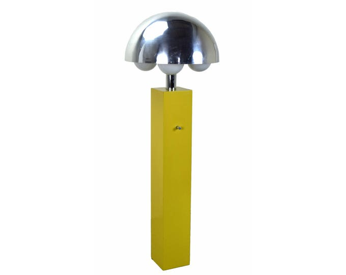 Vintage Mid-Century Modern Yellow Floor Lamp with Chrome Shade