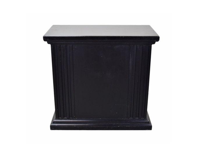 Rectangular Neoclassical Fluted Black Pedestal or Sculpture Stand