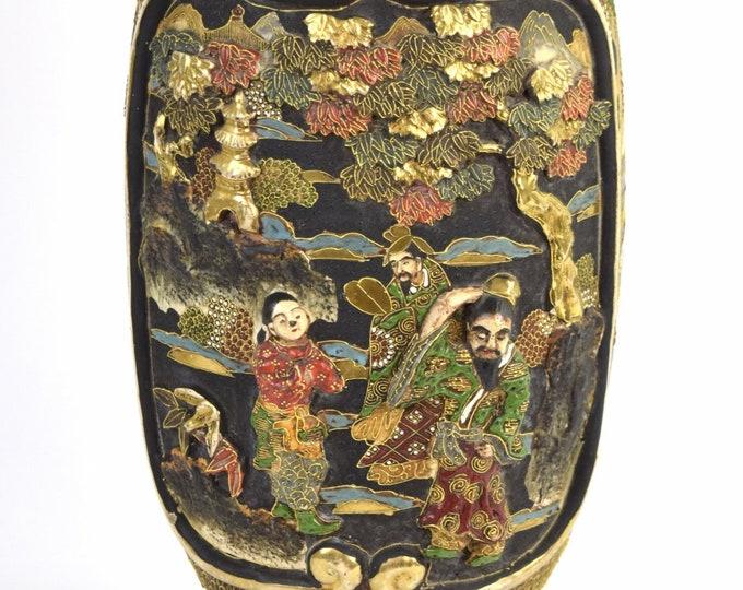 Antique Japanese Satsuma Bas-Relief Immortals Vase Table Lamp
