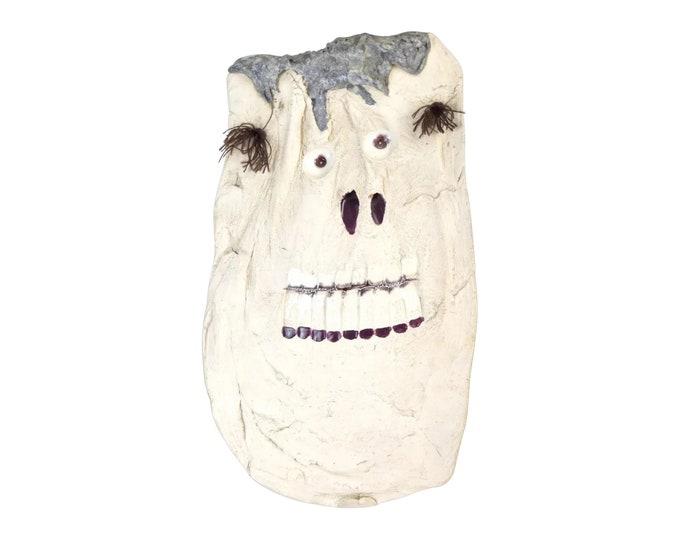 Vintage Surrealist Pottery Mask White Face Wall Sculpture John Allen