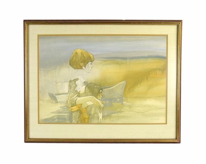1960's Shelly Canton Watercolor Two Girls Looking Out to Lake Michigan Chicago