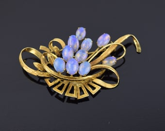 Gorgeous Vintage 14k Solid Gold Brooch w Spray of Opal Cabochons