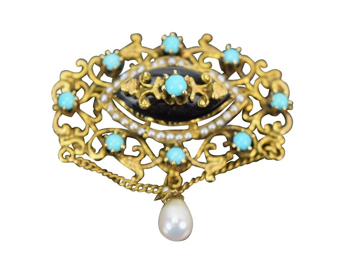 Vintage Victorian Style 14k Solid Gold Brooch Pendant Turquoise Onyx Teardrop Pearl