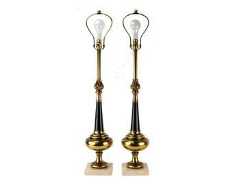 Pair Mid-Century Stiffel Flaming Urn Lamps Brass Enamel Travertine Marble