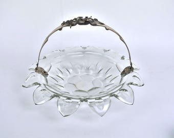Circa 1845 Dutch Cut Crystal Wedding Basket Bowl Silver Handle w Raised Floral Decoration