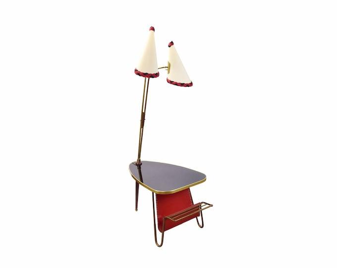 Vintage Mid Century Modern Atomic Side Table Magazine Rack and Lamp