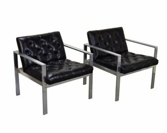 Pair Vintage Mid-Century Modern Milo Baughman Style Chrome Steel Lounge Armchairs