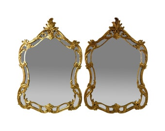Pair Vintage Italian Carved Giltwood Wall Mirrors Paoletti Brothers Florence Italy