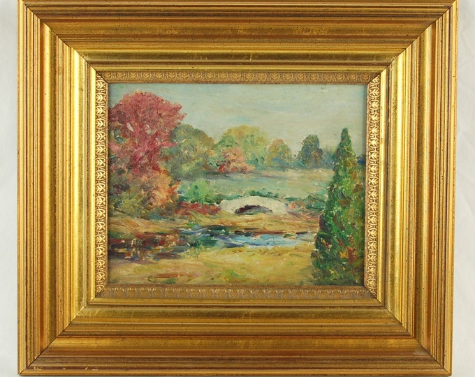Antique Oil Painting of Rolling Landscape with Bridge over Stream