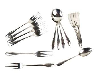 15 pc set Gorham Lyric Sterling Silver Dinner Salad Fork Soup Tea Spoons Butters